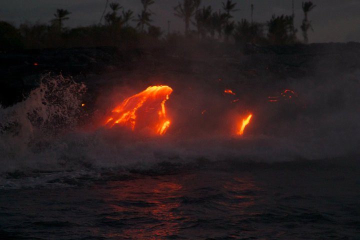 Lava viewing boat trips, Big Island, Hawaii