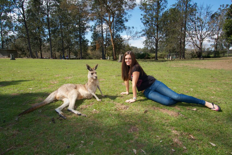 posing with kangaroo