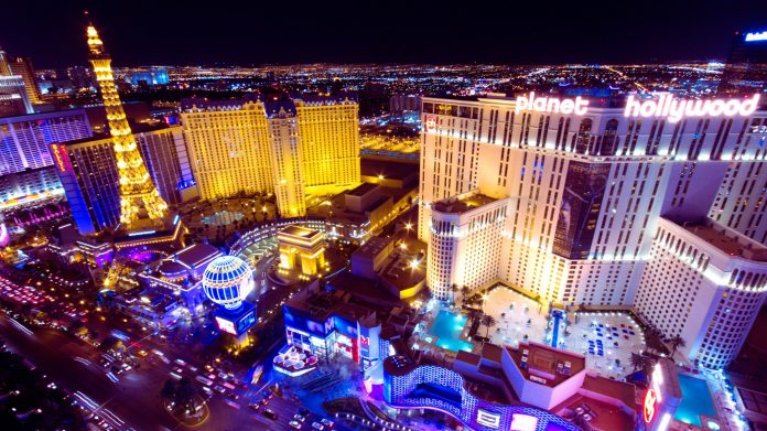 Las Vegas strip aerial view